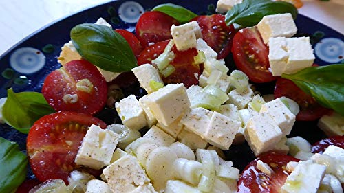 - Home Comforts Canvas Print Tomatoes Cheese Frisch Feta Cheese Salad Onion Vivid Imagery Stretched Canvas 32 x 24
