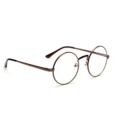 3b072cd905 Unisex Retro Round Metal Frame Clear Lens Eyeglasses Vintage Geek Glasses   Amazon.co.uk  Kitchen   Home