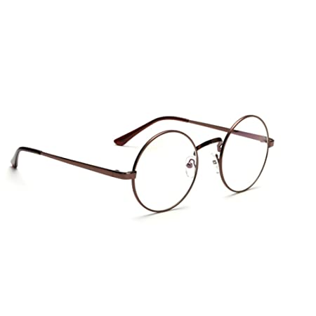 bea38dbd85 Unisex Retro Round Metal Frame Clear Lens Eyeglasses Vintage Geek Glasses   Amazon.co.uk  Kitchen   Home