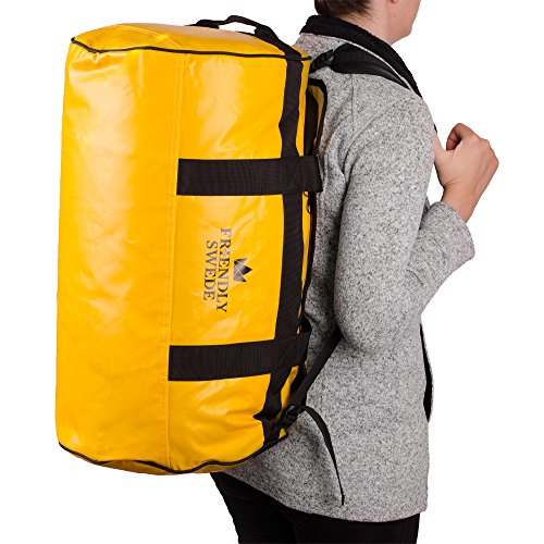 Duffle bag with Backpack Straps - Travel Weekender for Gym, Sports, Camping, by The Friendly Swede (Yellow, 60L)