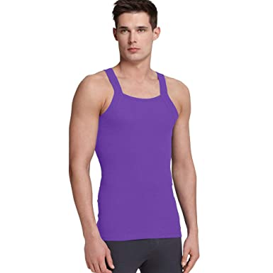 86e6bfed43906 imams deals Purple G Unit Square Cut Ribbed Tank Top Undershirt Underwear Wife  Beater Mens Cotton (