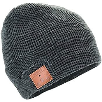 Tenergy Wireless Bluetooth Beanie Hat with Detachable Stereo Speakers & Microphone, Fleece-lined Unisex Music Beanie for Outdoor Sports, Basic Knit (Charcoal)