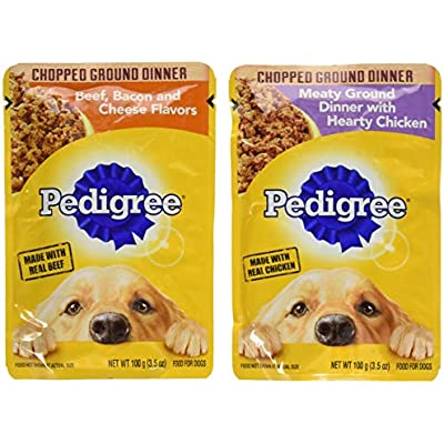 Pedigree Chice Cuts In Gravy 8 Pouch Variety Grilled Chicken Flavor In Sauce, 4-Filet Mignon Flavor In Gravy, 4 Piece