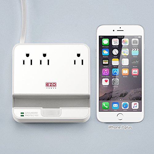 UL LISTED Charger Station - EZOPower Desktop Charging Power Strip Surge Protector with 3 AC Outlets, 3 USB Port 6.3A and Built-in Phone/Tablet Holder Stand Slot for iPhone, iPad, Tablet - White by EZOPower (Image #5)