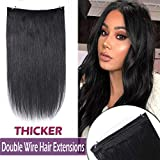 22'' Hidden Wire Extensions Remy Human Hair Thicker Flip on Secret Hair Extensions Long Straight No Clips No Glue Hairpieces Invisible Fish Line in 120g #1 Jet Black