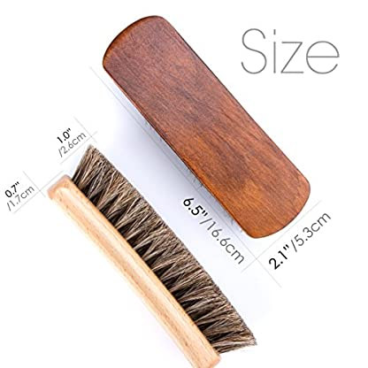 "6.7/"" Horsehair Shoe Shine Brushes with Horse Hair Bristles for Boots Shoes /& 2"