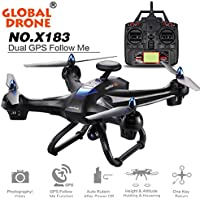 ZZSYU Global Drone 6-axes X183 With 2MP WiFi FPV HD Camera GPS Brushless Quadcopter (Black)