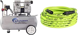 California Air Tools 8010 Ultra Quiet & Oil-Free 1.0 hp Steel Tank Air Compressor, 8 gal, Silver & Flexzilla Air Hose, 3/8 in. x 50 ft, 1/4 in. MNPT Fittings, Heavy Duty, Hybrid, ZillaGreen