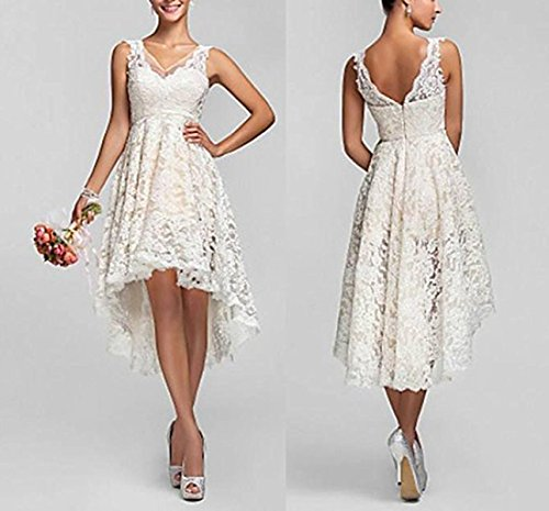 Fishlove Vintage Vestido De Novia High Low Country Lace Bridal Wedding Dresses W51 at Amazon Womens Clothing store: