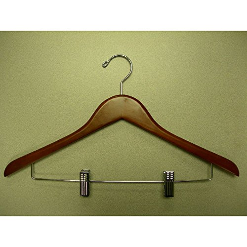 VidaNaticle Genesis flat suit hanger w/wire clips, light walnut, 44.5Lx1.2Tcm, 50pcs/case (Genesis Flat Suit Hanger)