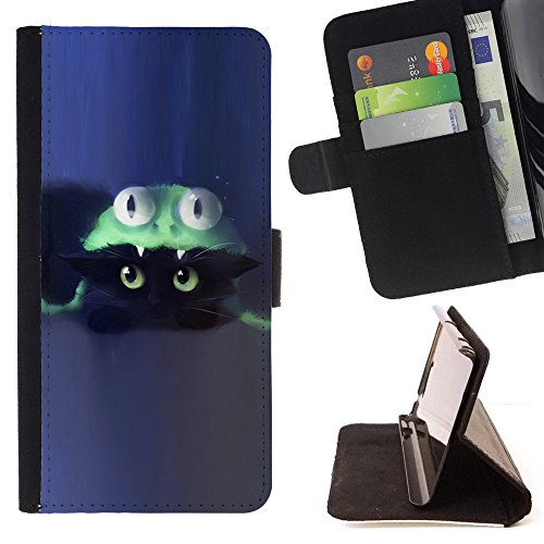 [XP-Tech / Flip Wallet Diary PU Leather Case Cover With Card Slot for LG X Mach / X Fast - Cat Costume Cute Blue] (Kitten Bear Costume)