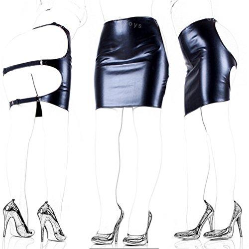 FST Sexy Black Slave Girl PU Leather Skirt