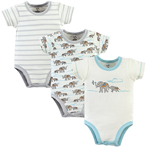 Touched by Nature Baby Organic Cotton Bodysuits, Elephants 3 Pack, 12-18 Months (Clothing Childrens Cotton Organic)