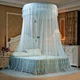 Superbuy Elegant Ruffle Lace Bed Canopy Mosquito Netting Dome Princess (Dome Nets, Water Green)