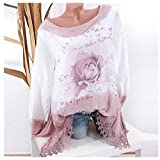 Clearance Sale Fashion T Shirts for Women - vermers Women Plus Size Lace Print Long Sleeve Blouse Pullover Tops(5XL, Pink)