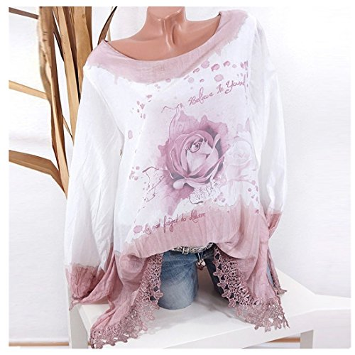 Clearance Sale Fashion T Shirts for Women - vermers Women Plus Size Lace Print Long Sleeve Blouse Pullover Tops(5XL, Pink) by vermers
