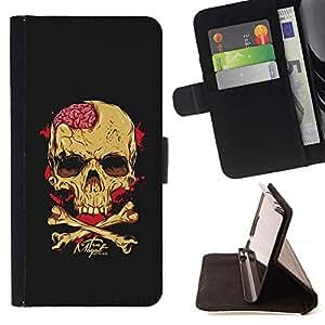 Momo Phone Case / Flip Funda de Cuero Case Cover - Negro Cerebral Blood Crossbones Cráneo - LG G4 Stylus H540