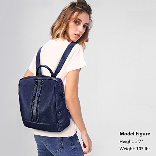 Medium Genuine Bag Wine Leather 1 ZONE Red Shoulder Casual S Purse Blue Backpack Women zqUfWEw