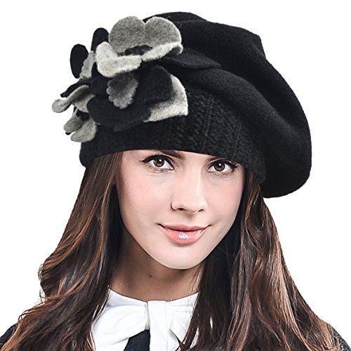 Women's Elegant Flower Wool Cloche Bucket Ridgy Bowler Hat 09-co20 (Wool Hat Patterns)