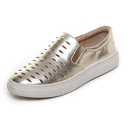 Shenn Mujer Respirable Casual Agujeros Ponerse Oro Cuero Entrenadores Zapatos 605 EU36