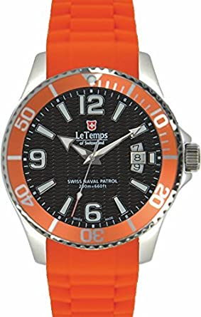Le Temps of Switzerland - SWISS NAVAL PATROL schwarz-orange - Ø 42 mm