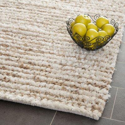 Safavieh Aspen Shag Collection SG640A Handmade White and Beige Wool & Hemp Area Rug (4' x 6')