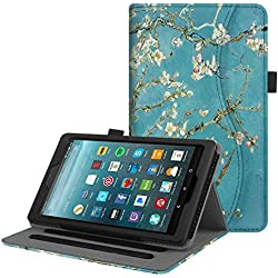 Fintie Case for All-New Amazon Fire 7 Tablet (7th Generation, 2017 Release) - [Multi-Angle] Viewing Folio Stand Cover with Pocket Auto Wake / Sleep, Blossom