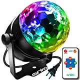 ANKO Mini LED Stage Magic Light, 7 Color Changes With Remote Control Sound Active Auto Flash RGB Mini LED Rotating Magic Ball Lights For KTV, Party, Wedding, Show, Club Pub And More(BLACK) (1 PACK)