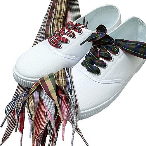 2.5cm Wide Fantastic Flat Shoelaces Fabric Ribbon Plaid Shoe Laces for Sneaker Sport Shoes