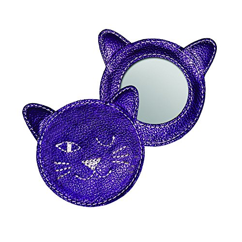 Winking Kitty Leather Compact Mirror - Purple