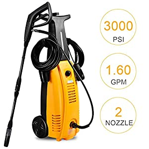 Goplus Electric High Pressure Washer 3000 PSI 1.6 GPM Electric Pressure Washer, 2000W
