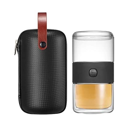 Amazon.com   ZENS Glass Teapot with Infuser, Tea Infuser Cup, Tea Set With Case, Teapot for One with Cup, Loose Leaf Tea Maker, Black: Tea-For-One Sets