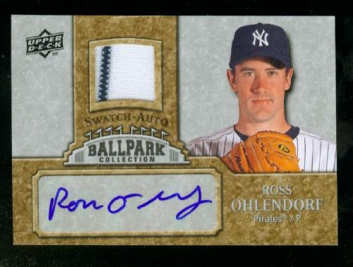 Ross Ohlendorf Autograph 2009 Upper Deck Ballpark Collection Card #JA-RO w/Striped Jersey Swatch / New York Yankees / Pittsburgh - Ross Park Pittsburgh