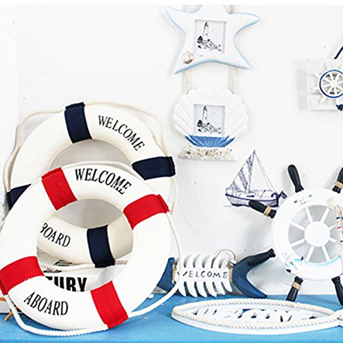 2 Pcs 6 inches Welcome Cloth Decorative Life Ring, Buoy Home Wall Nautical Decor, (Red and Blue)