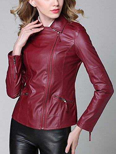 Cuir Ochenta Court Blouson Femme Fausse Jacket Bordeaux qptXpx4Prw