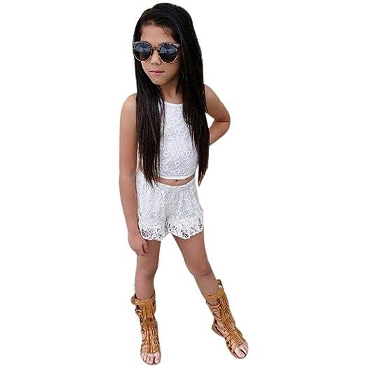 Vestidos niñas, Switchali Niños Bebé Niña Verano moda Chaleco Tejer blusas Encaje camisa + pantalones cortos Conjunto de ropa de fiesta para chica casual ...