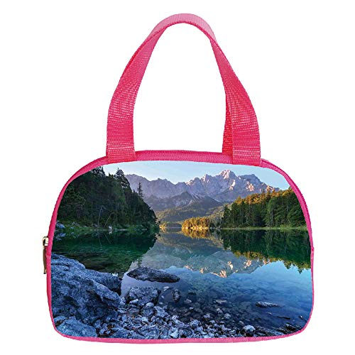 (iPrint Strong Durability Small Handbag Pink,Lake House Decor,Fantastic Sundown on Mountain Lake Eibsee Located in The Bavaria Germany,Green Mustard Blue,for Students,3D Print Design.6.3