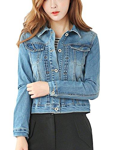Mujer Elasticidad Casual Chaquetas De Mezclilla Denim Jacket Manga Larga Abrigo Azul