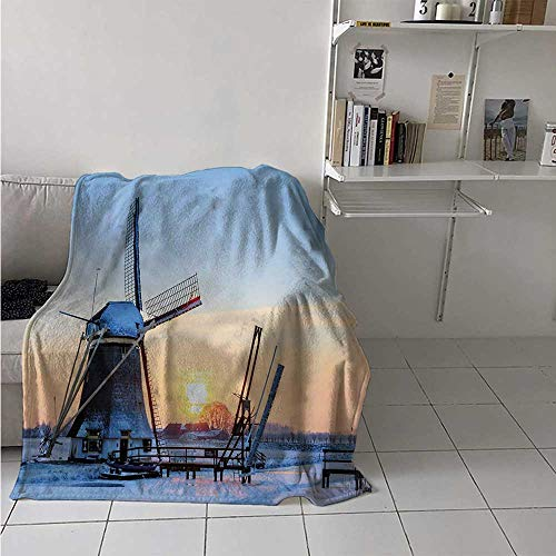 maisi Windmill Warm Microfiber All Season Blanket Frozen Winter View Dutch Windmill Covered in Snow ICY River at Sunset Print Artwork Image 60x50 Inch Baby Blue and Peach ()