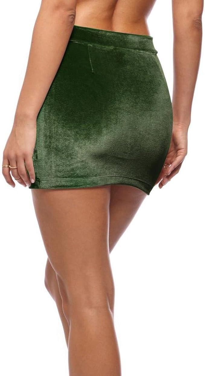 FNKDOR Mujeres de terciopelo de alta cintura corta Bodycon mini ...