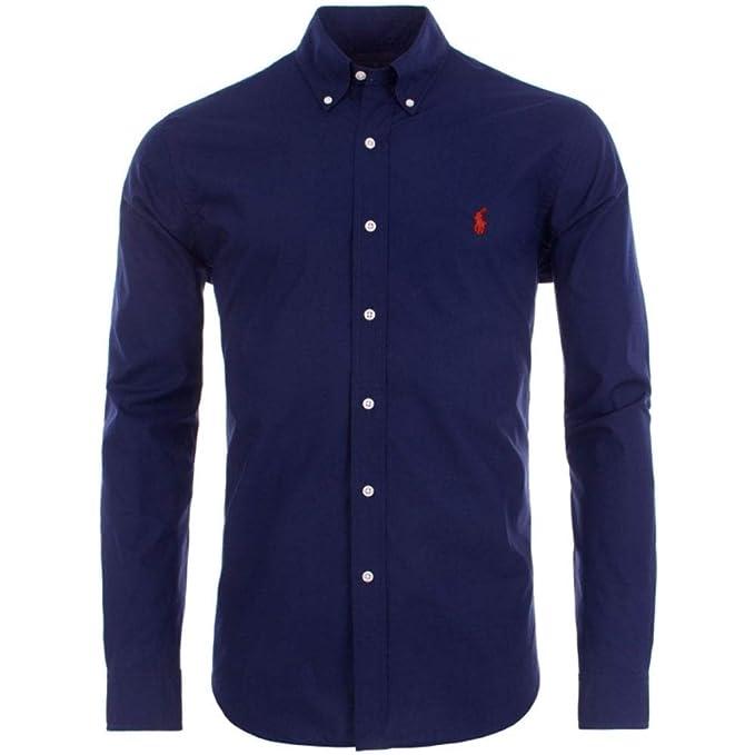 Ralph Lauren Polo Shirt Mens Navy Poplin Performance Slim Fit Azul ...