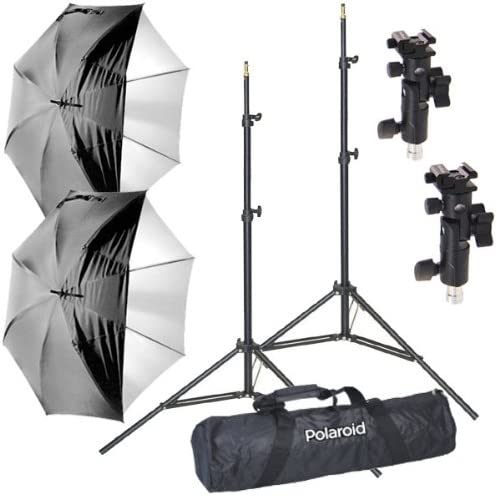 Two Air-Cushioned Heavy Duty Light Stands White Satin Interior Umbrella with Removable Black Cover 2 Deluxe Pro Case One Two 2 Umbrella Adapters Includes: Two Polaroid Pro Studio Digital Flash Umbrella Mount Kit 2 1