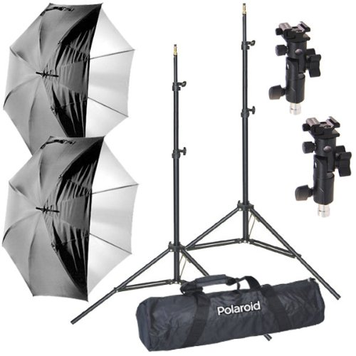 (Polaroid Pro Studio Digital Flash Umbrella Mount Kit, Includes: Two (2) Air-Cushioned Heavy Duty Light Stands, Two (2) White Satin Interior Umbrella with Removable Black Cover, Two (2) Umbrella Adapters, One (1) Deluxe Pro Case)