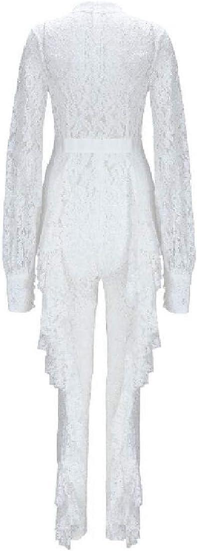 ouxiuli Womens Jumpsuits Long Sleeve Floral Lace Ruffle Bodycon Pants Jumpsuit Romper