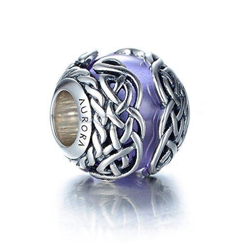 e7010a8e0 Celtic Mystic Knot Purple Murano Glass & Sterling Silver Charm S925 ...