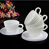 Archi Silicone Molds Liners for Cupcakes Ideal Little Girl Princess Parties Teacups Bakeware for Baking Muffins (white)