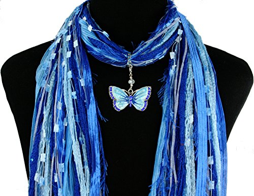 Blue Butterfly Necklace Scarf ~ Enamel and Crystals ~ Boho Fringe Ribbon Art Scarf ~ Lightweight All Season Fibers~ Detachable Pendant Option