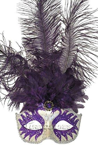 [8eighteen Colombina Swan Princess Feather Mask (Purple)] (Swan Princess Costume)