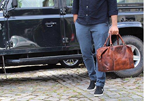Uomo E Donna In Pelle Da Week-end Borsa Da Viaggio Marrone 44 Cm Xl Borsa In Pelle Premium Per Viaggi Di Fine Settimana Impermeabile 40 Litri