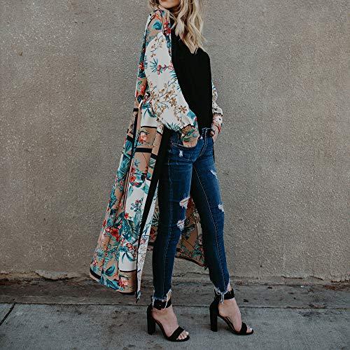 imprim Beachwear Jimma Smock Ceinture Manches Bandage Sexy Vert Veste chale Chemise Manches Kimono Femme Blouse Manteau Chemise Longues Champ Longues UUrTxqg6